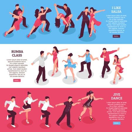 ルンバクラスを持つ水平アイソメトリックバナーのダンスセット、サルサの間の人々、ジャイブ孤立ベクトルイラスト