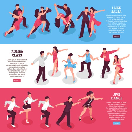 Dance set of horizontal isometric banners with rumba class, people during salsa, jive isolated vector illustration Vettoriali