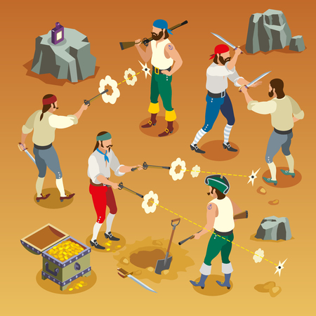 Pirates game isometric composition with men during fight on sand background with bullet holes. Illustration