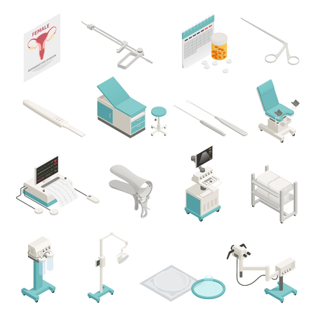 Gynecology equipment and instruments isometric icons set isolated on white background 3d vector illustration