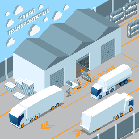 Logistic electric vehicles, cargo transportation isometric composition with warehouse, loading freight in truck vector illustration