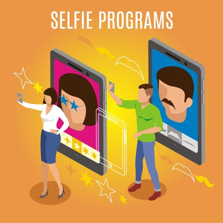 Programs and filters for selfie photo, isometric orange background with gadgets, persons making self portrait vector illustration