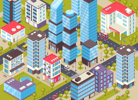Modern city center district isometric close up detail with administrative business and residential buildings facilities. Standard-Bild - 99947107