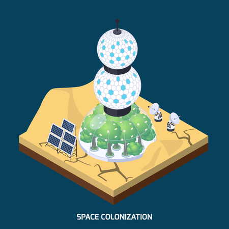 Space colonization terraforming isometric composition with piece of planet landform and cultivation module with live plants vector illustration Illustration