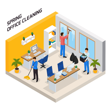 Spring office thorough tidying up isometric compositing with floor washing windows cleaning taking garbage out vector illustration