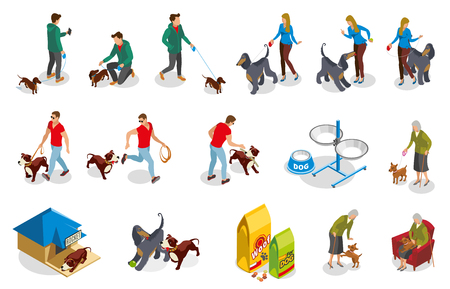 Daily activities of dog and owner isometric icons vector illustration