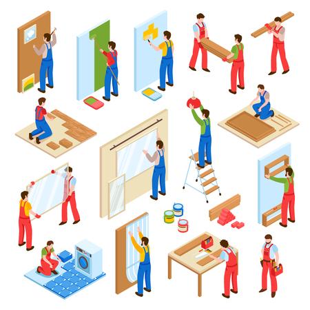 격리 된 벡터 일러스트 레이 션 누워 벽 그림 라미네이트 바닥과 주택 수리 리모델링 리모델링 서비스 노동자 아이소 메트릭 컬렉션