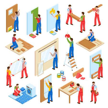 Home repair renovation remodeling service workers isometric collection with walls painting laminate flooring laying isolated vector illustration