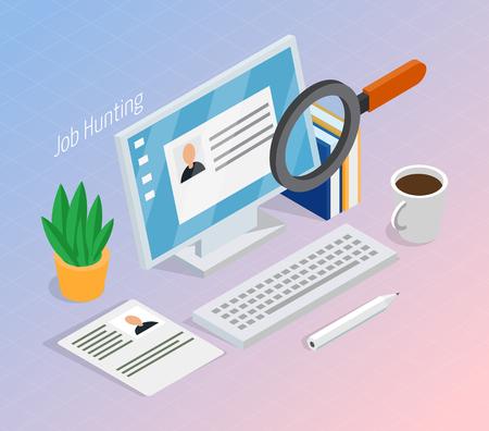 Die Suche nach dem richtigen Job für Beschäftigung und Rekrutierung wird fortgesetzt. Isometrische Zusammensetzung des Kandidaten mit Lupe.