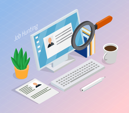 Employment and recruitment resume search for hiring right job, candidate isometric composition with magnifying glass.