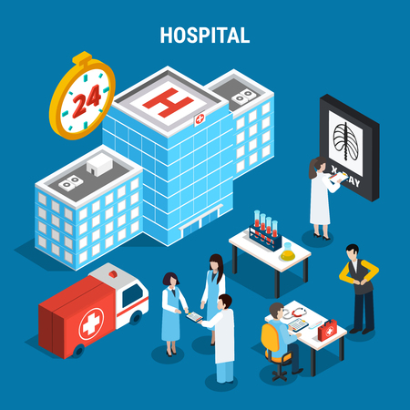 Medical isometric set with hospital building ambulance car and doctors at work isolated on blue background 3d vector illustration