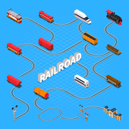 Rail road isometric flowchart on blue background with passenger and cargo train elements vector illustration Illustration