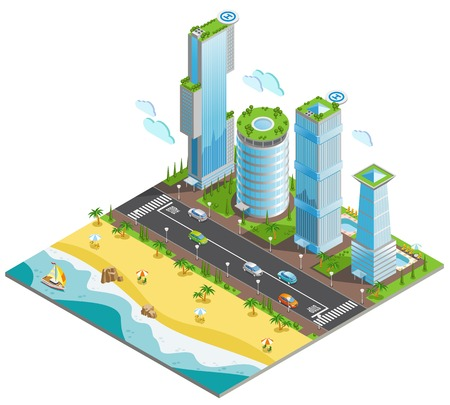 Isometric coloured futuristic skyscrapers composition with piece of ocean and sandy beach vector illustration.