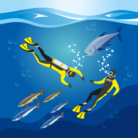 Underwater depths research, divers with scuba equipment and fishes, composition on blue background, isometric vector illustration.