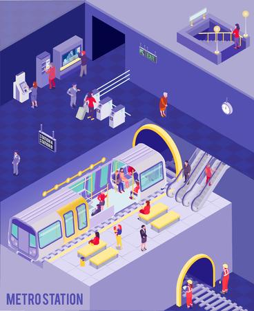 Colorido cartel isométrico con personas en la estación de metro subterráneo ilustración vectorial 3d
