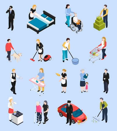 障害者や高齢者の孤立した文字ベクトルイラストの世話をする個人的なドライバーガーデナーシェフアシスタントのホームスタッフのアイソメトリ
