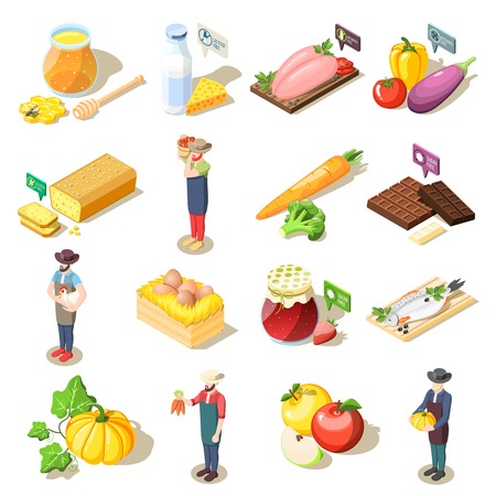 Set of isometric icons organic food including fruits vegetables, dairy products, eggs and honey isolated vector illustration