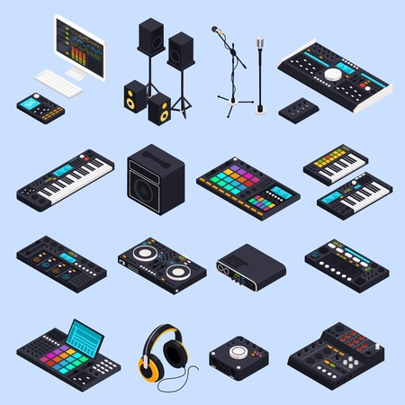 Music recording studio equipment isometric icons set with isolated images of professional audio devices speakers keyboards vector illustration