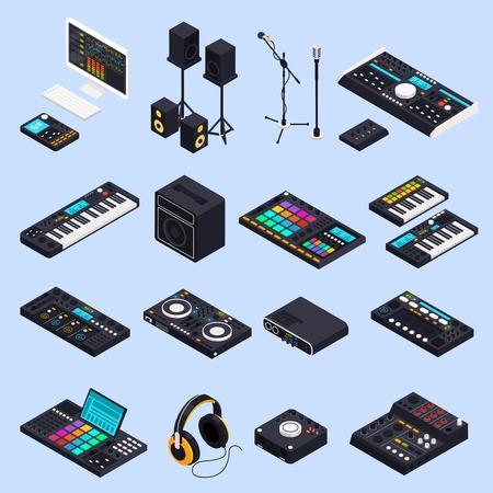 Zestaw ikon izometrycznych sprzętu studia nagrań muzycznych z izolowanymi obrazami ilustracji wektorowych klawiatur głośników profesjonalnych urządzeń audio