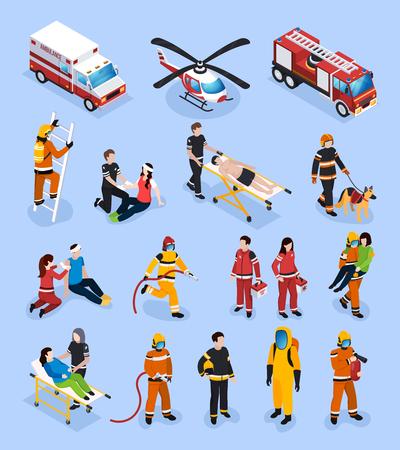 Conjunto isométrico de equipos de rescate con personas en uniforme profesional dedicadas a la atención médica y la ilustración de vector de control de incendios