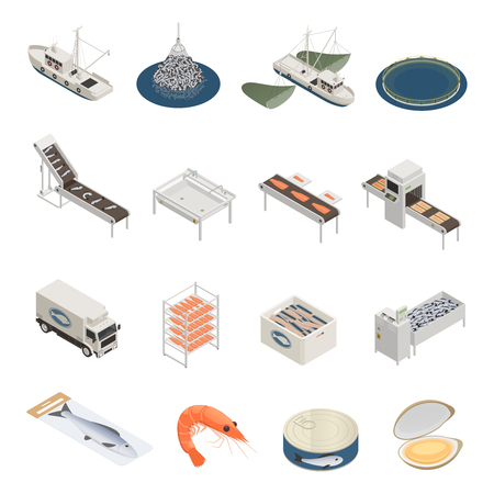 Fish industry seafood production isometric icons with pieces of industrial equipment vessels and ready marine products vector illustration Stock Illustratie