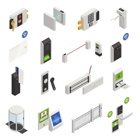 Access identification isometric icons collection of isolated safeguarding system elements images and user recognition electronic devices vector illustration