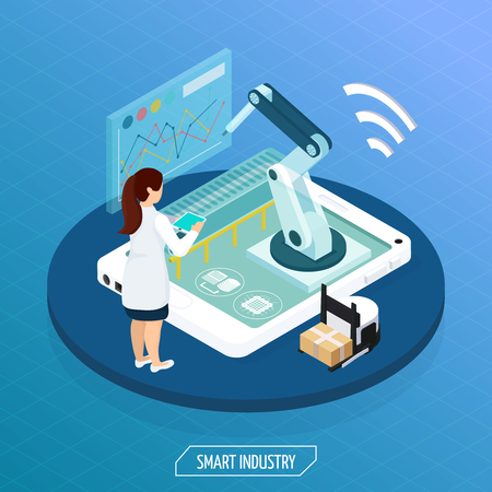 Smart industry isometric conceptual composition with human character operating remote automated manipulator set on tablet screen vector illustration