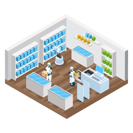 Automated shop isometric composition with robots, goods on shelves, self checkout, security system vector illustration. Illustration
