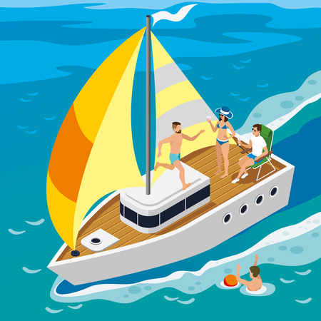 Rich people during leisure on board yacht with yellow sails on sea in summer isometric.