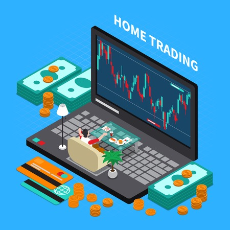 Online trading on stock exchange at home isometric composition with money, laptop, payment cards. Foto de archivo - 99947118