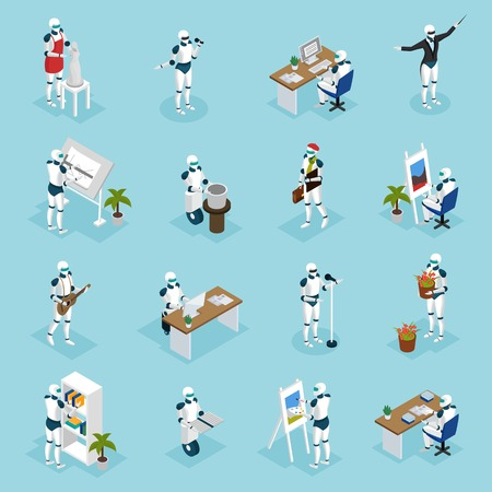 Artificial intelligence isometric icons collection with creative robots playing guitar, singing, painting, designing, writing isometric vector illustration. Foto de archivo - 99947119