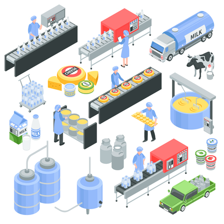 Dairy factory isometric icons with pouring milk in bottle, cheese production, transportation for delivery isolated vector illustration