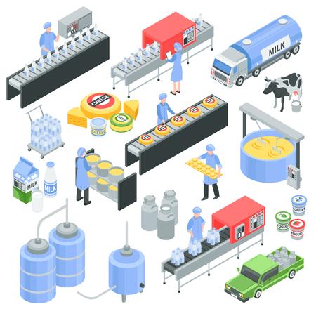 Iconos isométricos de la fábrica de productos lácteos con leche vertida en botella, producción de queso, transporte para entrega ilustración de vector aislado