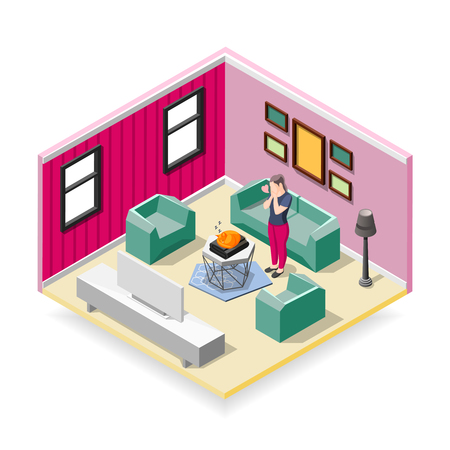 Touching sleeping red cat and affected woman in home interior isometric composition vector illustration