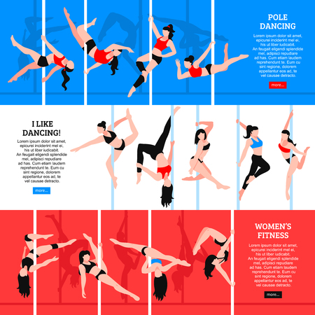 Pole dance set of horizontal banners with girls in various poses isolated on color background vector illustration Çizim