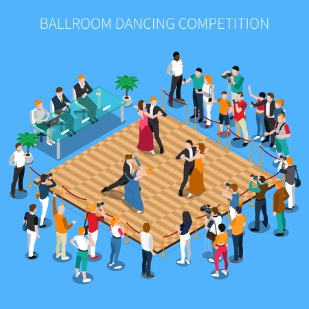 Ballroom dancing competition isometric composition on blue background with performers on parquet, judges and viewers vector illustration