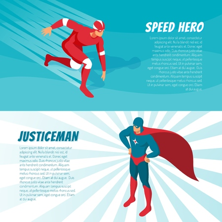 Fantastic superheroes in bright costumes horizontal isometric banners set 3d isolated vector illustration Illustration