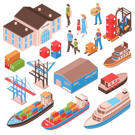 Sea port isometric set with city persons, pier building, cargo ships, harbor facilities isolated vector illustration
