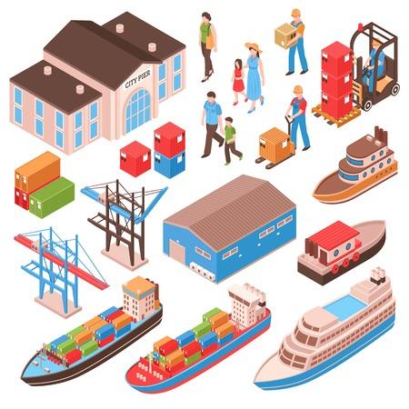 Zeehaven isometrische set met stadspersonen, pierbouw, vrachtschepen, havenfaciliteiten geïsoleerde vectorillustratie Stockfoto - 99882543