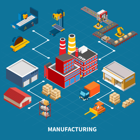 Industrial machines isometric composition with images of different vehicles buildings and devices utilized in manufacturing production vector illustration Illustration