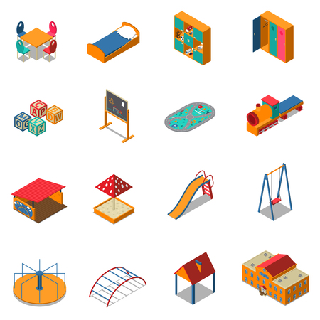 Childrens building with interior elements, play ground with sand box, slide, swing, isometric icons isolated vector illustration