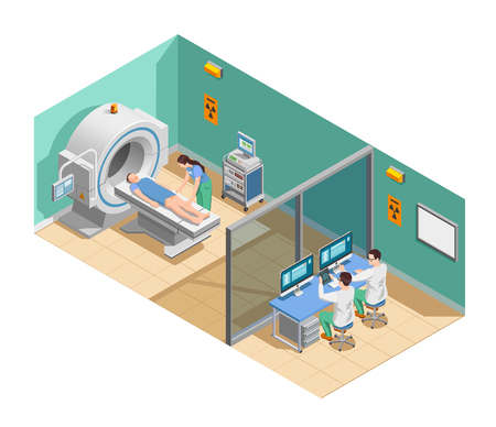 Medical examination with MRI scanner, patient and doctors, isometric composition with interior elements vector illustration.