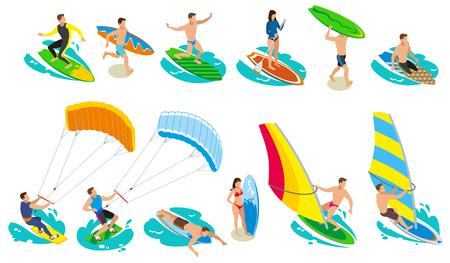 Icônes isométriques de surf avec des images isolées de surfeurs et divers modèles et types d'illustration vectorielle de planche de surf de voile Vecteurs