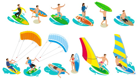Surfing isometric icons with isolated images of surfers and various models and kinds of sail surfboard vector illustration