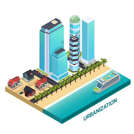 Urbanization isometric composition with modern landscapes built nearby old district with abandoned dilapidated rural houses vector illustration Illustration
