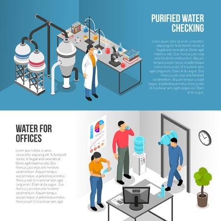 Isometric horizontal banners set with water purification process and delivering bottles in office 3d isolated vector illustration