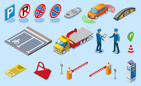 Isometric parking icon set with different isolated elements to create parking and attributes to it vector illustration Illustration