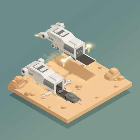 Isometric composition with military equipment in two transporter space ships on grey background 3d vector illustration