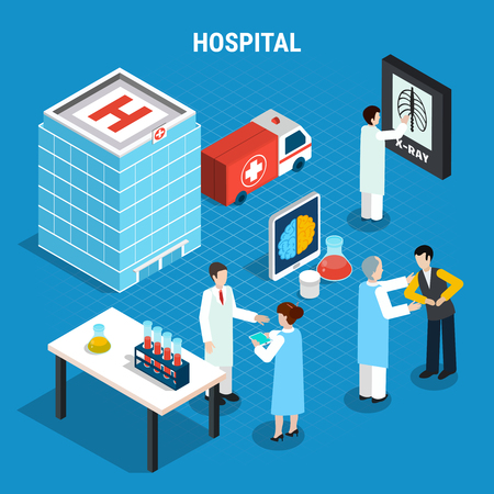 Medical isometric concept with doctors working at laboratory and consulting patients isolated on blue background 3d vector illustration