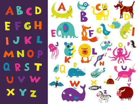 Children toddlers preschoolers abc learning set with bright colorful eye catching letters and funny animals vector illustration